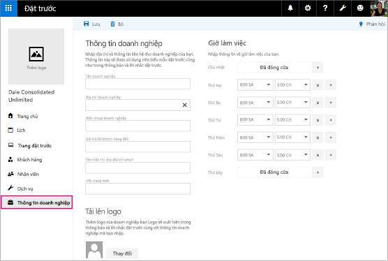 Trang thông tin doanh nghiệp trong ứng dụng đặt chỗ