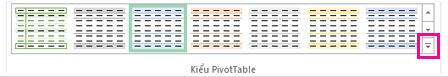 Nút Thêm trong bộ sưu tập Kiểu PivotTable