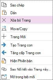 Tùy chọn Xóa Trang được tô sáng trong menu ngữ cảnh trang OneNote cho Windows 10.