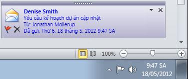 Cảnh báo trên màn hình nền của Outlook