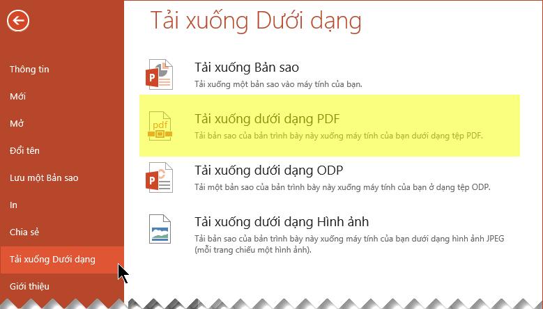 Chọn Tệp > Tải xuống dưới dạng > Tải xuống dưới dạng PDF