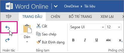 hoàn tác một thay đổi trong Word Online