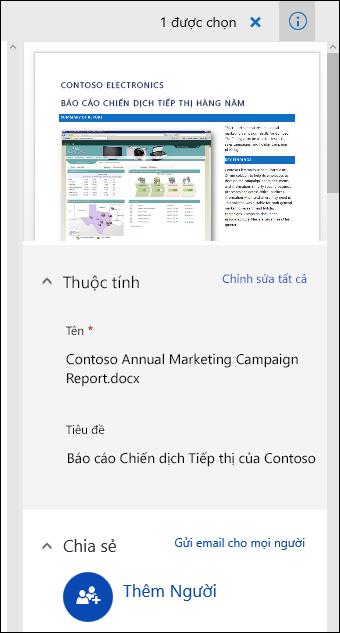 Ngăn siêu dữ liệu tài liệu Office 365
