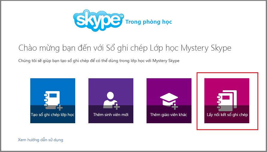 Lấy nối kết trong Mystery Skype