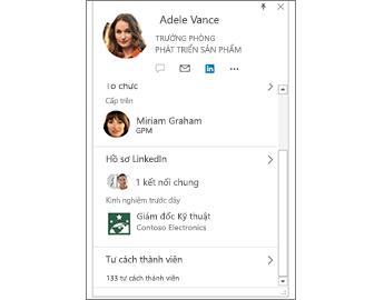 Thẻ Liên hệ kèm theo thông tin trên LinkedIn