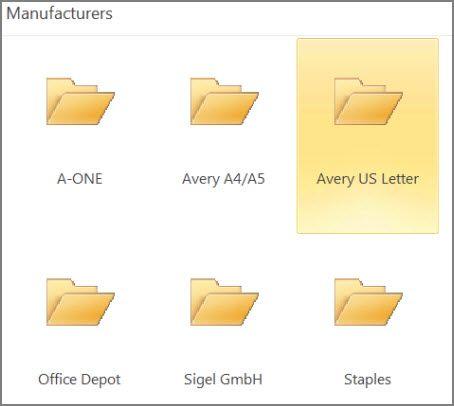 Các mẫu bưu thiếp cho các nhà sản xuất bưu thiếp cụ thể, như Avery.
