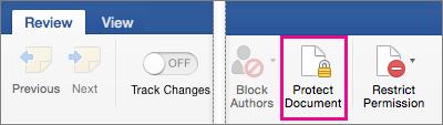 Trên tab Xem lại, phần Bảo vệ Tài liệu được tô sáng