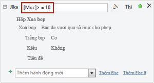 Sử dụng biểu thức trong khối If trong macro.