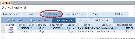 Tab Hóa đơn trong mẫu cơ sở dữ liệu Dịch vụ