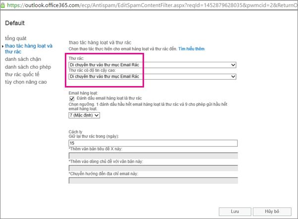 Thiết đặt thư rác và số lượng lớn các hành động vào Mpve thư mục Email rác