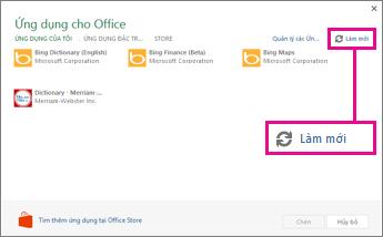 Nút Làm mới của Ứng dụng cho Office
