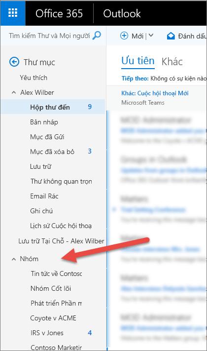 Bạn sẽ tìm thấy nhóm của bạn trên ngăn dẫn hướng bên trái trong Outlook hoặc Outlook trên web