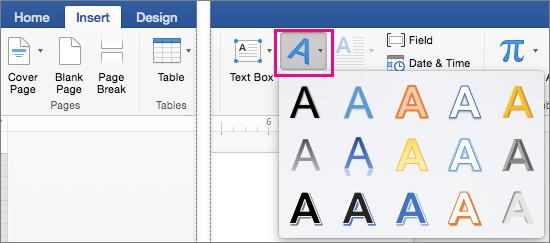 Tab Chèn với tùy chọn WordArt được tô sáng.