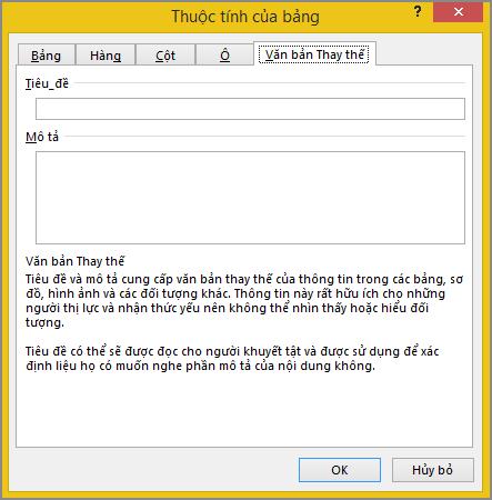 Tab thay thế văn bản trong hộp thoại thuộc tính bảng