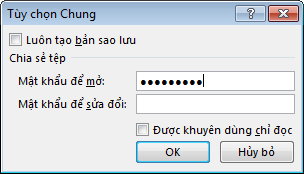 Hộp thoại Tùy chọn Chung.