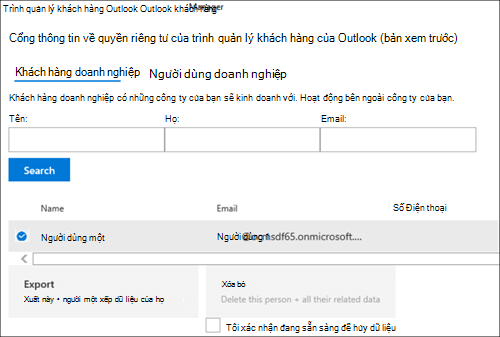 Ảnh chụp màn hình: Xuất Outlook khách hàng Manager của khách hàng dữ liệu