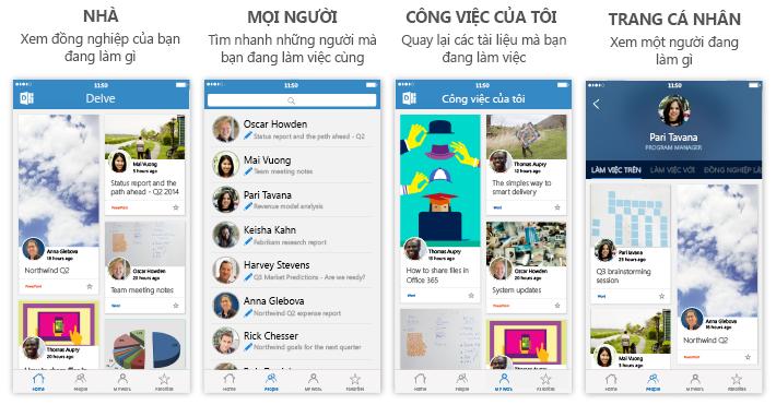 Bốn màn hình Delve cho iPhone với văn bản mô tả