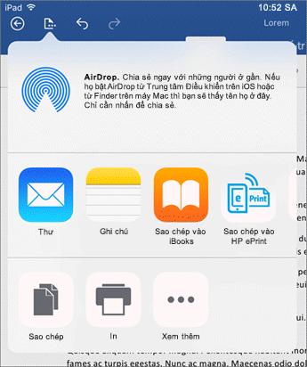 Mở trong hộp thoại ứng dụng khác cho phép bạn gửi tài liệu của bạn cho các ứng dụng khác để gửi thư, in hoặc chia sẻ.