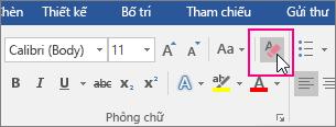 Biểu tượng Xóa Tất cả Định dạng được tô sáng trên tab Nhà