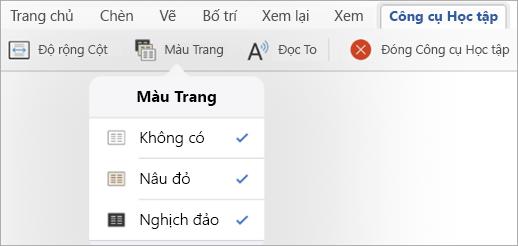 Hiển thị tùy chọn Màu Trang cho Công cụ Học tập
