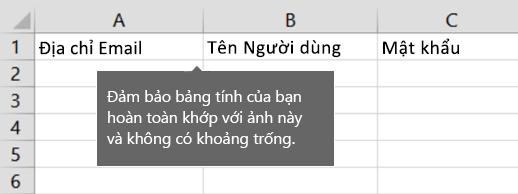 Đầu đề ô trong tệp di chuyển Excel