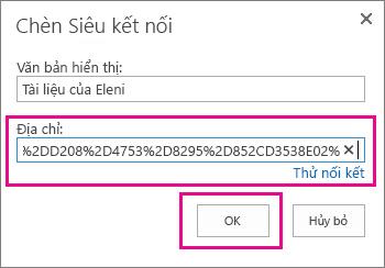 Chèn URL vào thư mục OneDrive.