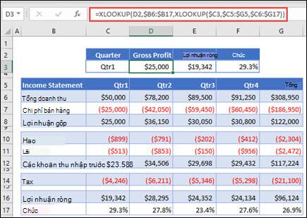 Hình ảnh của hàm XLOOKUP được sử dụng để trả về dữ liệu ngang từ một bảng bằng cách làm tổ 2 Xtra cứu. Công thức là: = XLOOKUP (D2, $B 6: $B 17, XLOOKUP ($C 3, $C 5: $G 5, $C 6: $G 17))