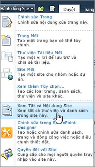 Xem tất cả nội dung trang trên menu hành động Site