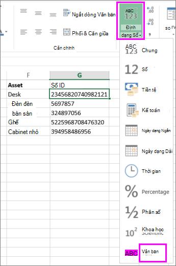áp dụng định dạng văn bản cho số