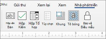 Tab nhà phát triển với điều khiển nội dung