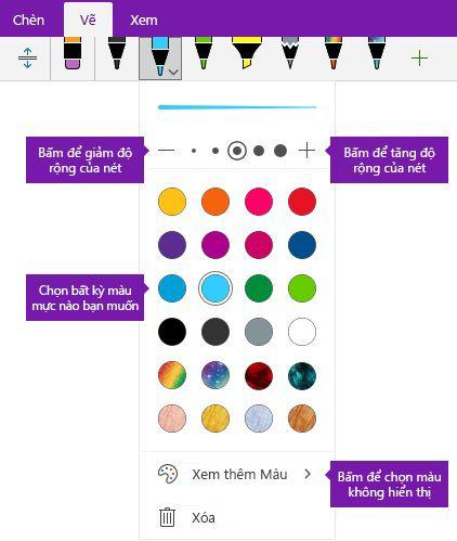Nét bút chiều rộng và màu tùy chọn viết tay trong OneNote cho Windows 10