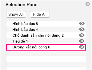 Hiển thị đường kết nối ở cuối danh sách trong ngăn lựa chọn