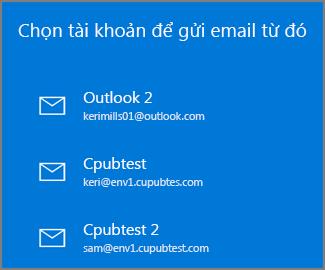 Chọn tài khoản để gửi email từ đó