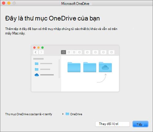 Ảnh chụp màn hình trang Đây là Thư mục OneDrive của Bạn trong trình hướng dẫn Chào mừng bạn đến với OneDrive trên máy Mac