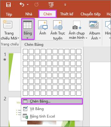 Hiển thị tùy chọn Bảng trong tab Chèn trên ribbon trong PowerPoint