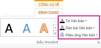 Nhóm Kiểu WordArt trên tab Định dạng Công cụ Vẽ