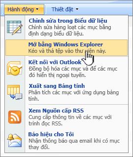 Mở bằng Windows Explorer menu tùy chọn bên dưới hành động