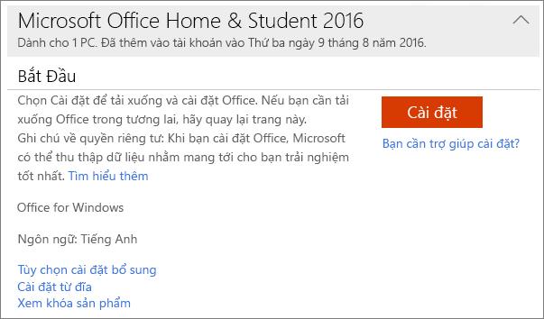 Hiển thị liên kết Xem khóa sản phẩm của bạn cho cài đặt Office một lần