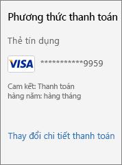 """Ảnh chụp màn hình hiển thị nối kết """"Thay đổi chi tiết thanh toán""""."""