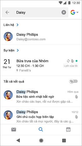 Kết quả tìm kiếm Hiển thị tất cả các cuộc họp bao gồm tên Daisy