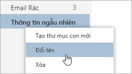 Ảnh chụp màn hình của menu ngữ cảnh của thư mục với đổi tên được chọn