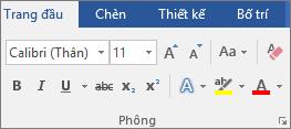 Trong Word, trên tab trang đầu, trong nhóm phông, hãy chọn phông và cỡ phông.
