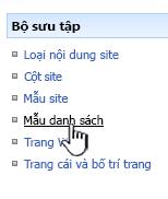 Danh sách nối kết mẫu trên menu bộ sưu tập