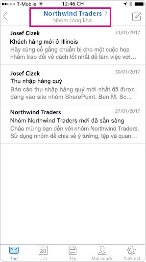 Dạng xem hội thoại di động của Outlook với đầu trang được tô sáng
