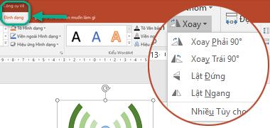 Các lệnh Xoay sẵn dùng trên tab Định dạng của Công cụ Vẽ thuộc dải băng thanh công cụ. Chọn đối tượng bạn muốn xoay, rồi bấm vào dải băng.