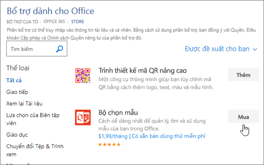 Ảnh chụp màn hình của trang Office bổ trợ, nơi bạn có thể chọn hoặc tìm kiếm bổ trợ cho Word.