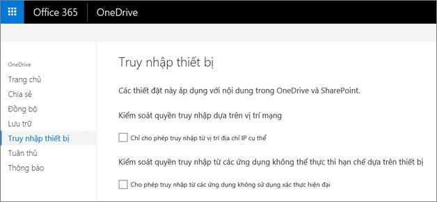 Tab Thiết bị truy nhập của Trung tâm quản trị OneDrive