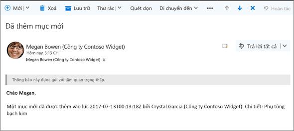 Email được gửi bởi Microsoft Flow khi một mục đã thay đổi