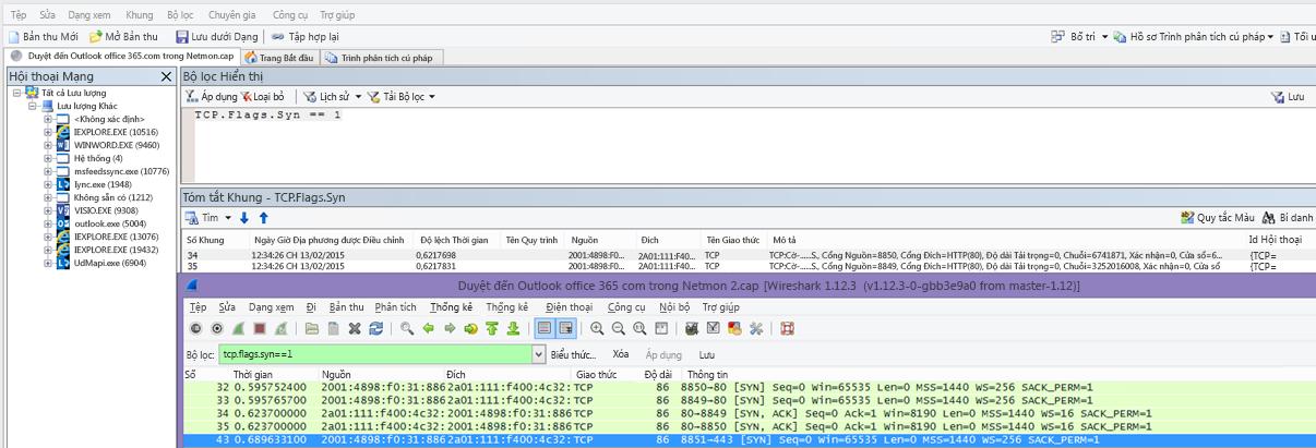 Bộ lọc trong Netmon hoặc Wireshark cho gói Syn đối với cả hai công cụ: TCP.Flags.Syn == 1.