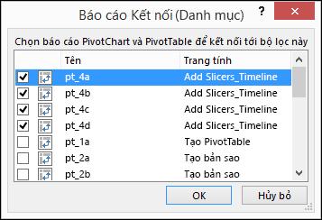 Kết nối báo cáo slicer từ Slicer công cụ > tùy chọn